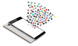 Social Media Icons Fly Off The Android Mobile Phone Stock Photo