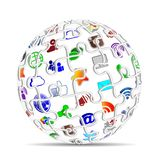 Social Media icons apps puzzle sphere concept. Puzzle sphere with social Media icons apps isolated on white background stock photography