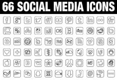 66 Social Media Icons black Stock Image
