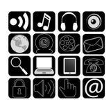 Social media icons. On black squares, vector illustration Stock Photos