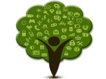 Social media icons branches and human trees Royalty Free Stock Photography