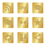 Social Media Icons | Bronze Square 05. Professional set for your website, application, or presentation Royalty Free Stock Image