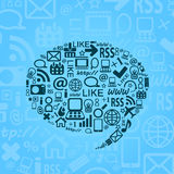 Social Media Icons in Bubble Speech Shape Royalty Free Stock Photo