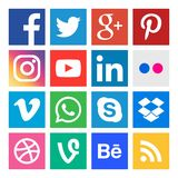 Social media icons. Buttons collection in vector. Icons. Vector collection of social media buttons on white background stock illustration