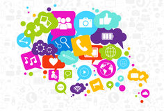 Social Media Icons Chat Bubble On White Background Network Communication Concept Stock Photo