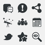 Social media icons. Chat speech bubble and Bird. Stock Images
