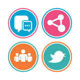 Social media icons. Chat speech bubble and Bird. Royalty Free Stock Image