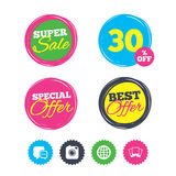 Social media icons. Chat speech bubble and Globe. Stock Images