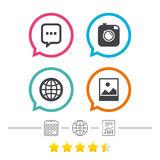 Social media icons. Chat speech bubble and Globe. Social media icons. Chat speech bubble and world globe symbols. Hipster photo camera sign. Landscape photo Royalty Free Stock Photography