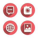 Social media icons. Chat speech bubble and Globe Royalty Free Stock Photo