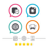 Social media icons. Chat speech bubble and Globe. Social media icons. Chat speech bubble and world globe symbols. Hipster photo camera sign. Photo frames Royalty Free Stock Image