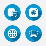 Social media icons. Chat speech bubble and Globe Stock Photography
