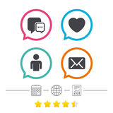 Social media icons. Chat speech bubble and Mail. Social media icons. Chat speech bubble and Mail messages symbols. Love heart sign. Human person profile Royalty Free Stock Image
