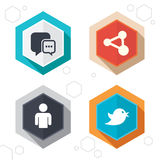 Social media icons. Chat speech bubble and Share Royalty Free Stock Photo
