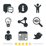 Social media icons. Chat speech bubble and Share. Stock Photos
