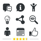 Social media icons. Chat speech bubble and Share. Stock Photo