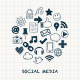 Social media icons in circle Royalty Free Stock Image