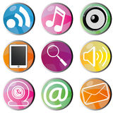 Social media. Icons on circles with different color Royalty Free Stock Image