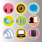 Social media. Icons on circles with different color Stock Photos
