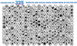 325 Social Media Icons Collection Black and White Color Vector Royalty Free Stock Images