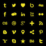 Social Media Icons. Collection of most popular social media and network buttons icons Stock Image