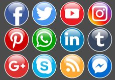 Social media icons. Collection of social media icons round on black background - editable vector illustration stock illustration