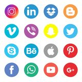 Social Media Icons Collection Set. Editorial Vector Illustration on a white background vector illustration