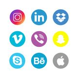 Social Media Icons Collection Set. Editorial Vector Illustration on a white background royalty free illustration