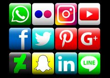 social media icons color Royalty Free Stock Photo