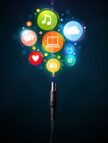 Social media icons coming out of electric cable Royalty Free Stock Photography
