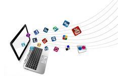 Social and media icons with computer Stock Photos