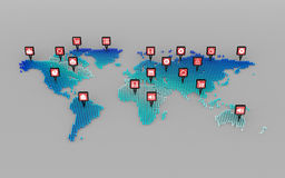 Social media icons concept and world map dot Stock Image