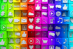 Social media icons. 3D render Stock Photo