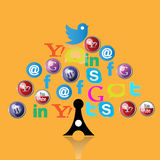 Social media icons web tree Royalty Free Stock Photography