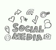 Social Media with icons doodle style. Vector illustration for internet concept and social media marketing advertising Royalty Free Stock Image