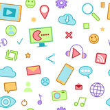 Social Media Icons with Emoticons and Internet Stock Photo