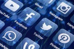 Social media icons Facebook, Twitter and other on smart phone screen Royalty Free Stock Images
