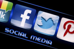 Social media icons Facebook and Twitter on smart phone screen close up Royalty Free Stock Image