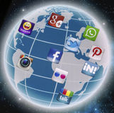 Social media icons Facebook, Twitter, Whatsapp and other on smart phone screen close up Stock Photo