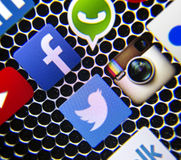 Social media icons Facebook and WhatsApp on smart phone screen Royalty Free Stock Photography