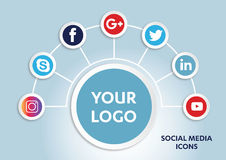 Social Media Icons. Flat icons: technology, social media, network, computer concept. Abstract background with objects in integrated group of elements. star Stock Photography