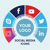Social Media Icons. Flat icons: technology, social media, network, computer concept. Abstract background with objects in integrated group of elements. star Royalty Free Stock Photography