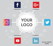 Social Media Icons. Flat icons: technology, social media, network, computer concept. Abstract background with objects in integrated group of elements. star Stock Photo