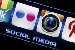 Social media icons Flickr and Instagram on smart phone screen close up. BELGRADE - SEPTEMBER 09, 2014 Social media icons Flickr and Instagram on smart phone Stock Image