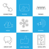 Social media icons of friends, like, videos & photos - concept v Stock Photos