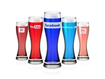 Social media Icons Glasses with white background Royalty Free Stock Photo