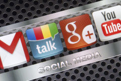 Social media icons Google talk, google plus and other on smart phone screen close up Royalty Free Stock Photography