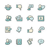 Social Media Icons. Hand drawn blue and beige social media icons. File format is EPS8 Stock Photo