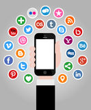 Social Media Icons with Hand Holding Smartphone. Illustration Collection of most popular social media and network buttons icons with hand holding smartphone stock illustration