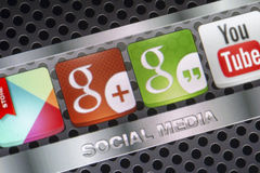 Social media icons Hangouts, google plus and other on smart phone screen close up Stock Images